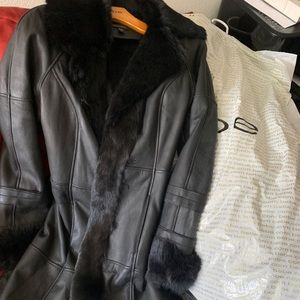 """BEBE"" Black leather/rabbit coat"